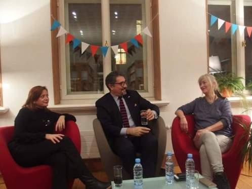 Anne-Laure Chamboissier, directrice de Champrojects, Gilles Bonnevialle, directeur de l'Institut français et Isabel da Rocha, H²O festival.